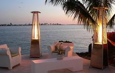 OBELISK FLAME PATIO HEATER + LIGHT TORCH | WIND PROOF | STAINLESS STEEL | PORTABLE
