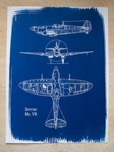 Aeronautical Cyanotype, $33.