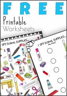 FREE I Spy School Supplies Printable Worksheets - This free printable I Spy game with school supplies is not only a fun afternoon activity, it will also get kids excited about the upcoming school year. I Spy can be played at a level suited to the child. It can be played anywhere, at home, school, waiting rooms, markets or while out driving in the car.