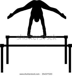 Uneven bars with gymnast