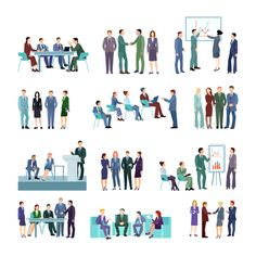 Flat meeting conference groups set of business people discussing strategies of company development isolated vector illustration Mosaic Pictures, Vector Free Download, Business Flyer Templates, Icon Collection, Woman Drawing, Meet The Team, Business Women, Conference, Illustration