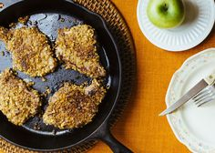 WALNUT-CRUSTED PORK CHOPS WITH BAKED APPLES (omit maple syrup)
