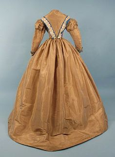 In the Swan's Shadow: Fawn silk day dress, 1860s