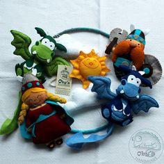 Baby Crib Mobile - Baby Mobile - Custom Baby Mobile - Dragons Vikings Mobile - Made to order - Felt Handmade Baby Crib Mobile, Baby Cribs, Mobiles, Baby Toys, Kids Toys, Viking Baby, Viking Character, Felt Flowers, Wool Felt