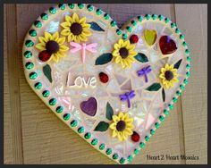 SOLD - Heart Mosaic with Daisies, Ladybugs, Dragonflies, Love and HeartsContact me for Custom Order ~
