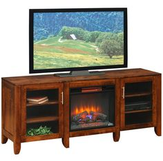 Amish Made Solid Wood  Emerson Fireplace TV Cabinet