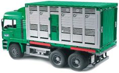 MAN Cattle transportation truck incl. 1 cow by Bruder. $52.75. Great for use indoors and outdoors. Made in Germany. Constructed out of fade-resistant, high-quality ABS plastic, with no glue or screws. Recommended Age Range 3+ Years. Realistic details and functions encourage imaginative play. From the Manufacturer                This cattle container can be removed and replaced with other compatible units, just like a real truck! The truck features a cab that tilt...