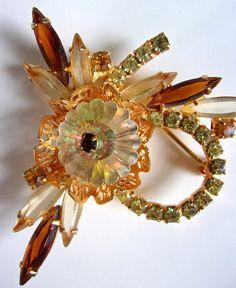 Vibrant Vintage Signed WEISS Orange Navettes Rhinestones Flower Brooch