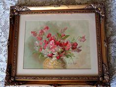 Antique Sweet Peas Print Paul de Longpre Buy now at Victorian Rose Prints on rubylane.com