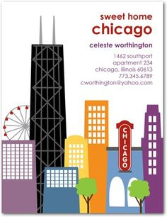 I Wish this was for me....missing my sweet home Chicago :(    Moving Announcement Postcards Chicago Chic - Front : Eggplant