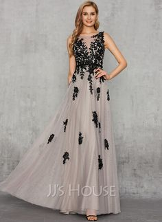 [US$ 164.00] A-Line V-neck Floor-Length Tulle Evening Dress With Lace Sequins Wedding Frocks, Wedding Party Dresses, Prom Dresses, Formal Dresses, Tulle, I Dress, Lace Dress, Swatch, Chiffon Evening Dresses