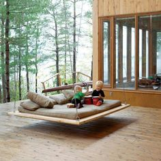 Bedroom, Modern Hanging Swinging Beds Ideas Wonderful Wooden House Architecture Design With Large Window And Awesome Outdoor Hanging Bed Swing Modern Hanging Swinging Beds Ideas Future House, My House, Farm House, Forest House, Outdoor Spaces, Outdoor Living, Outdoor Beds, Outdoor Swings, Outdoor Lounge