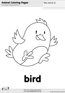 Free bird coloring page from Super Simple Learning. Tons of free animal worksheets and flashcards at www.supersimplelearning.com/resource-room. #kindergarten #preK #ESL