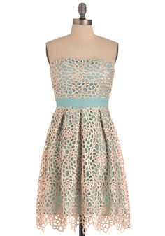 Keep It Reef Dress - Green, Tan / Cream, Floral, Pleats, Party, Empire, Strapless, Embroidery, Long