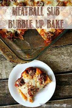 Meatball Sub Bubble Up Bake--I used leftover mozzarella stuffed meatballs. Used a whole jar of sauce, topped with Parmesan and mozzarella. Excellent!