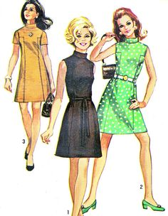 1960s Dress Pattern Simplicity 8588 Mod A Line Mini Dress Stand Up Collar Evening Dress Womens Vintage Sewing Pattern Bust 34 Uncut