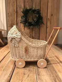 Wicker doll's pram in ecru ( creamy) colour with soft muslin bedding Dolls Prams, Wicker, Little Girls, Bedding, Basket, Colour, Wood, Handmade Gifts, Etsy