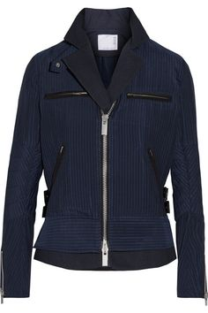 SACAI Hickory twill-trimmed striped cotton-canvas peplum jacket. #sacai #cloth #vestes