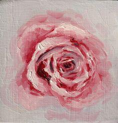 "Original Oil Rose Flower Painting // ""Little Rose"" 4x4"" Wood panel on Etsy, £22.00"
