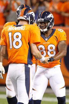 Peyton Manning & D Thomas celebrate after TD #7, 2013 season opener.