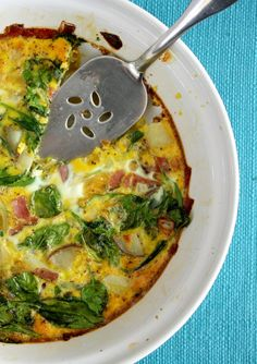A flavorful dairy free frittata that's filled with ham, spinach, and potatoes. #dairyfree #glutenfree