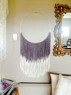 """Wall Hanging: Dreamweaver in MIDNIGHT. Hand dyed cotton in Black/Dark Grey ombre. 24-28"""" in length (approx). Hand dyed & Handmade. by DreamingGypset on Etsy"""
