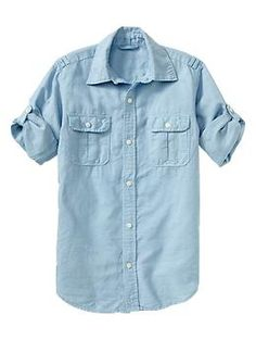 cute with dark jeans   Convertible garment-dyed shirt