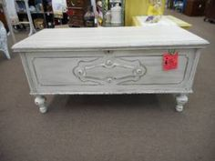 SOLD- Shabby Lane Cedar chest - painted creamy white distressed and finished in a dark wax. ***** In Booth A8 at Main Street Antique Mall 7260 E Main St (east of Power RD on MAIN STREET) Mesa Az 85207 **** Open 7 days a week 10:00AM-5:30PM **** Call for more information 480 924 1122 **** We Accept cash, debit, VISA, Mastercard, Discover or American Express