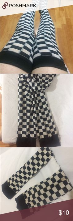Black and white checkered thigh highs Perfect condition, snug fit. Checkered thigh high tights. New wave, ska, pop art, cosplay. Accessories Hosiery & Socks