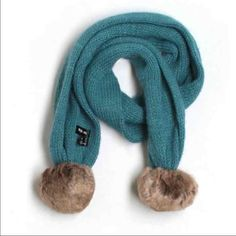 Style & Co. Teal Pom Pom Scarf!  Brand new with tags! Excellent condition scarf. Tan furry faux Pom Poms. Comes from a smoke free & pet free home. Accepting reasonable offers. Style & Co Accessories Scarves & Wraps
