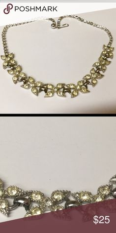 Vintage rhinestone necklace with flower detail Vintage choker style necklace with yellow diamonds and accents in shape if a flower. Vintage Jewelry Necklaces