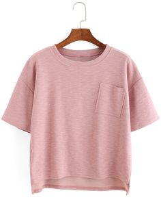 Dip+Hem+Split+Ribbed+Pink+T-shirt+10.83