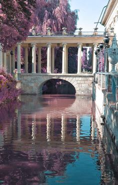 Bridge at Lazienki Palace in Warsaw, Poland Nature Aesthetic, Travel Aesthetic, Beautiful Architecture, Art And Architecture, Ancient Greek Architecture, The Places Youll Go, Places To Go, Palace Garden, Fantasy Landscape