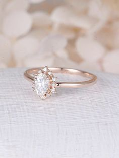Vintage engagement ring Oval Moissanite engagement ring rose gold diamond halo wedding Jewelry Anniversary Valentines Day Gift for women Description: -Classic style diamond ring -Natural Conflict Free Diamonds - comfortable band Moissanite carat:approx 64mm Shape:Oval Natural #weddingring