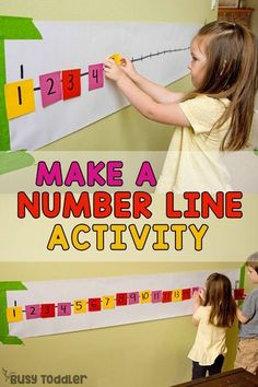POST-IT NUMBER LINE ACTIVITY: A quick and easy preschool math activity; a number sense activity; a homeschool math activity; quick and easy indoor activity from Busy Toddler preschool Post-It Number Line Math Activity for Preschoolers Number Line Activities, Pre K Activities, Preschool Learning Activities, Preschool Lessons, Preschool Education, Number Line Games, Preschool Projects, Learning Activities For Toddlers, Number Games For Kids