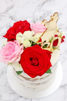 A Semi-Naked 80th Birthday Cake topped with real Roses 🌹 | instagram.com/laurascakes_x 80 Birthday Cake, Cake Toppings, Naked, Roses, Sweets, Cookies, Floral, Desserts, Instagram