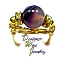 Elegant Purple Striped Agate Artisan Gold Tone Wire Wrap Ring All Sizes