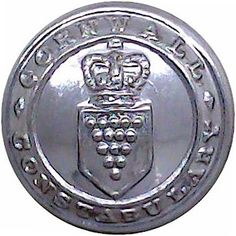 Cornwall Constabulary - Police or Prisons uniform button for sale Queen Elizabeth Crown, Queen Crown, Buttons For Sale, Merchant Navy, Commonwealth, Chrome Plating, Cornwall, Police