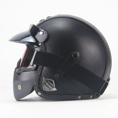 DOT Certified PU Leather Helmets 3/4 Motorcycle w/ Goggle and Mask