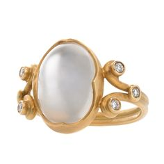 Anahita Moonstone Diamond Gold Heavenly Ring   From a unique collection of vintage cocktail rings at https://www.1stdibs.com/jewelry/rings/cocktail-rings/