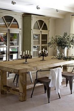 Rustic Dining Room with Concrete floors, RESTORATION HARDWARE - SALVAGED WOOD FARMHOUSE RECTANGULAR EXTENSION TABLE