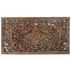 Shop for Handmade Reclaimed Teak Wood Lotus Carving (Thailand). Get free delivery On EVERYTHING* Overstock - Your Online Art Gallery Shop! Get in rewards with Club O! Home Decor Wall Art, Wood Wall Art, Brown Home Decor, Dark Wax, Dark Brown, Black Stains, Teak Wood, Carved Wood, Wood Pieces