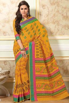 Gamboge Yellow Cotton Printed Casual and Party Saree Sku Code:68-3585SA419977 $ 26.00
