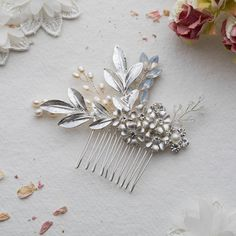 Amal Flower Silver Hairpiece by Lola & Alice, the perfect gift for Explore more unique gifts in our curated marketplace. Wedding Hair Pins, Bridal Hair, Painted Leaves, Hair Combs, Up Styles, Hair Pieces, Fabric Flowers, Floral Decorations, Hair And Nails