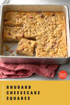 It's rhubarb season, so now's the time to try this rich and tangy cheese bar. It's bound to be a hit with the rhubarb lovers you know. —Sharon Schmidt, Mandan, North Dakota Rhubarb Desserts, Rhubarb Recipes, Cookie Desserts, Cheese Bar, Cheesecake Squares, Cinnamon Cream Cheeses, Bar Recipes, Vegetarian Cheese, North Dakota