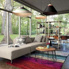 Fun Eclectic Mix: tropical palm pendant lights and colorful rug.