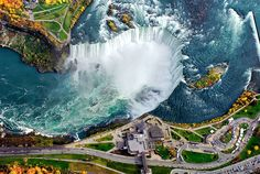 Areal view of Niagara Falls, collective name for three waterfalls that straddle the international border between the Canadian province of On...