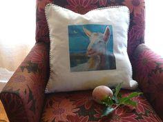 Fine Art Goat Pillow by Studioshannon on Etsy, $90.00