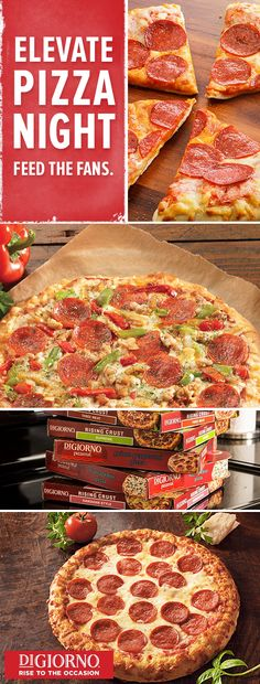 Secure your title as the MVP of pizza nights with a selection of insanely delicious, perfectly crispy pizzas from DIGIORNO Pizza. Your crew got different tastes? From the incredible meat combo of the DiGiorno 3 Meat to the Original Rising Crust Pepperoni —DiGiorno® has got the season-winning lineup to make sure everyone leaves satisfied. Score.
