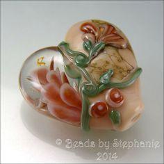 SALMON CORAL Peach Heart Glass Bead Lampwork by beadsbystephanie, $38.00